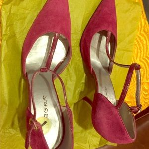 """Faux Suede and leather T-Stap 3"""" heels"""